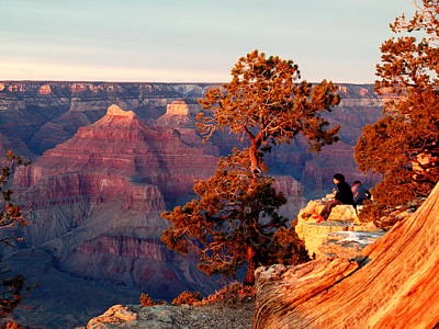 Watching The Sun Set On The Grand Canyon Print by Cindy Wright