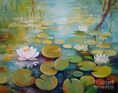 Lotus Leaves Painting - Water Lilies On The Pond by Elena Oleniuc