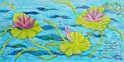 Collage Painting - Water Lilies Panorama by Carla Parris