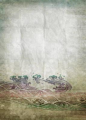 Water Pattern On Old Paper Print by Setsiri Silapasuwanchai