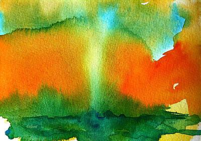 Wet Into Wet Watercolor Painting - Watercolor Waterspout  by Julianne Felton
