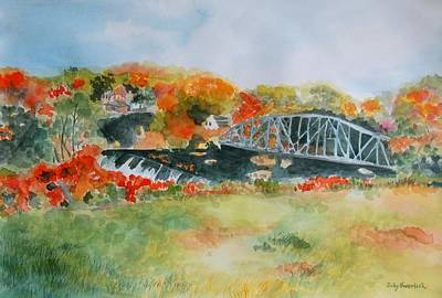 Saugerties Painting - Waterfall At Old Paper Mill In Saugerties by Judy Swerlick