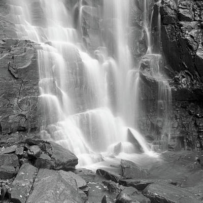 Waterfalls At Chimney Rock State Park Print by Holden Richards