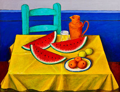 Table Cloth Painting - Watermelons by Roberto Aguilar