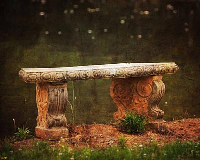 Antique Photograph - Waterside Bench by Jai Johnson
