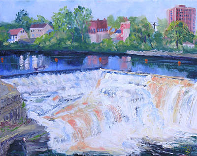 White Water Rafting Painting - Watertown Ny Mill St Falls by Robert P Hedden