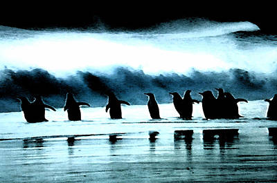 Penquins Painting - Wating For Take Off by Colette V Hera  Guggenheim