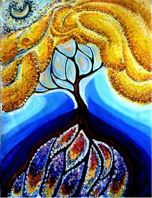 Wattle Or Acacia Tree And Deep Rainbow Pool Print by Helen Duley