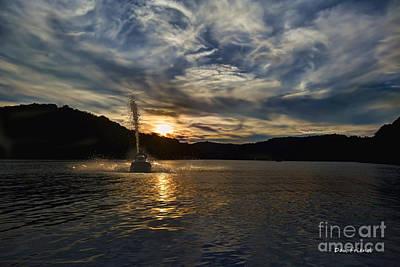 Wave Runner On Lake Evening Print by Dan Friend