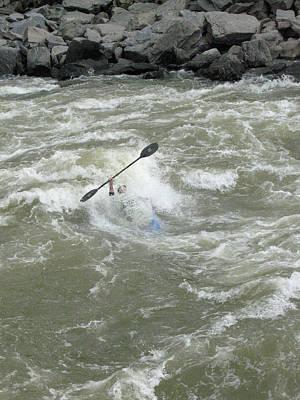 Wave Surfing Kayaker Goes Underwater Print by Skip Brown