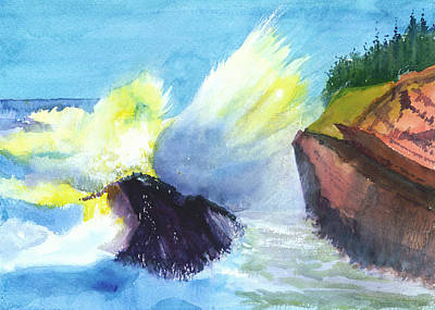 Christmas Holiday Scenery Painting - Waves 1 by Anil Nene