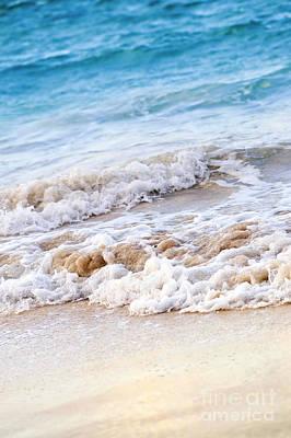 Waves Breaking On Tropical Shore Print by Elena Elisseeva