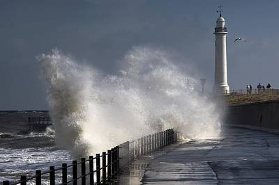 Waves Crashing By Lighthouse At Print by John Short