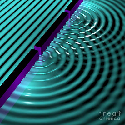 Vibrating Digital Art - Waves Two Slit 3 by Russell Kightley