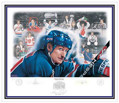 Art Of Hockey Mixed Media - Wayne Gretzky 1999 - Limited Edition by Daniel Parry