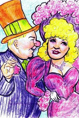 Ostrich Drawing - W.c. Fields And Mae West by Mel Thompson