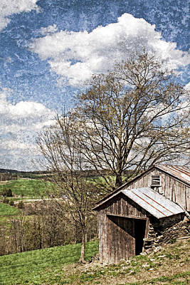 Weathered Hillside Barn Spring Print by John Stephens