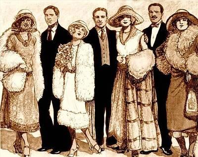 Wedding Dress Drawing - Wedding Sepia by Mel Thompson