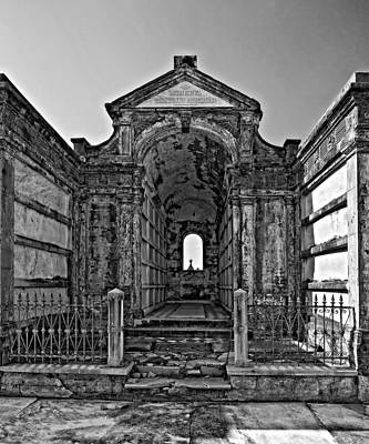 Metairie Cemetery Photograph - Welcome To Eternity Monochrome by Steve Harrington