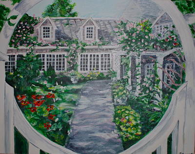 Side Porch Painting - Welcome To Nantucket by Jami Burns