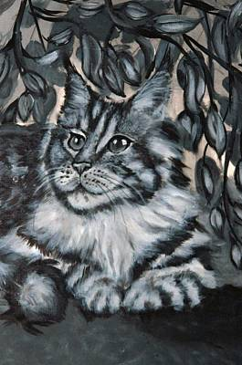 Cat Painting - Well Fed Cat by Elena Melnikova