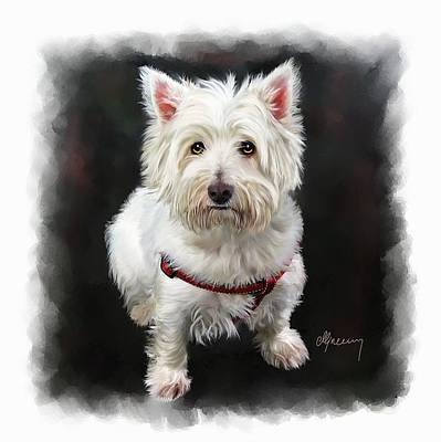Net Painting - West Highland White Terrier by Michael Greenaway