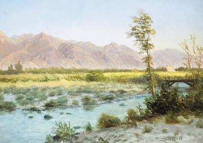 Mountains Painting - Western Landscape by Albert Bierstadt