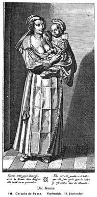 Wet Nurse, 17th Century Print by Granger