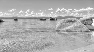 Whale Beach Black And White Print by Brad Scott