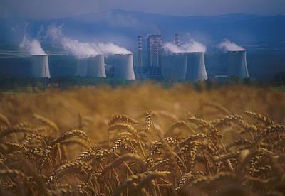 Wheat Fields And Coal Burning Power Print by David Nunuk