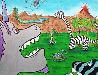 Unicorn Drawing - When Zebrasaurs Walked The Earth by Jera Sky