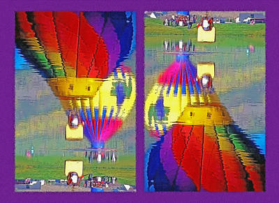 Flip Mixed Media - Which Way Up - Balloons In Reflection Diptych by Steve Ohlsen