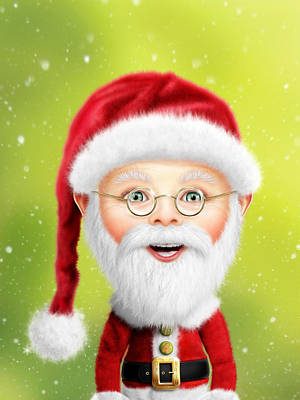 Whimsical Santa Claus Print by Bill Fleming