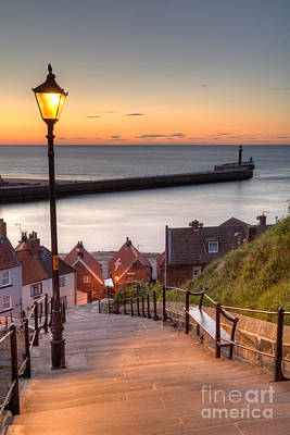 Dracula Photograph - Whitby Steps - Orange Glow by Martin Williams