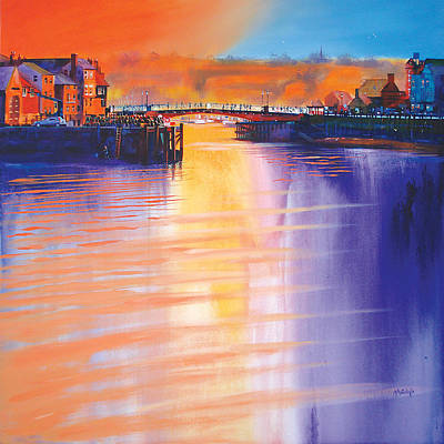 Crowds Painting - Whitby Swing Bridge by Neil McBride