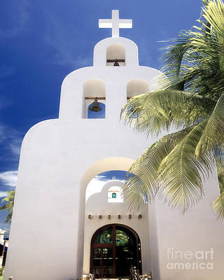 Adobe Church Photograph - White Adobe Chapel by George Oze