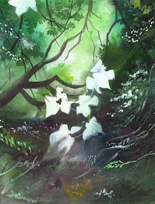 White Begonia Print by Anil Nene