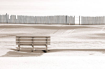 White Bench On A Winter Beach Sepia Print by Bill Pevlor