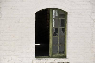 White Brick And Broken Window Print by Ray Laskowitz