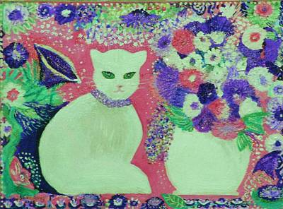 White Cat With Flowers All Around Print by Anne-Elizabeth Whiteway