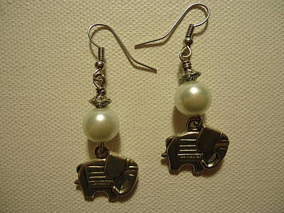 Wire Photograph - White Elephant Earrings by Jenna Green
