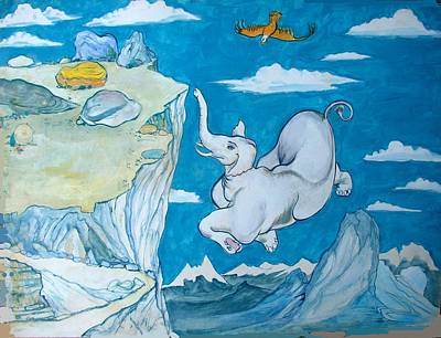 White Elephant Print by Scott Cumming