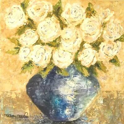 Maryann Painting - White Flowers by MaryAnn Ceballos