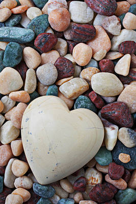 Heart Shaped Rock Photograph - White Heart Stone by Garry Gay