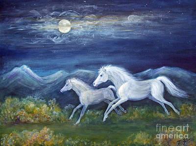 White Horses In Moonlight Print by Maureen Ida Farley