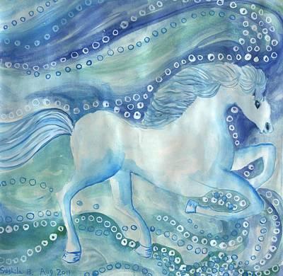 Sue Burgess Painting - White Horses On The Sea by Sushila Burgess
