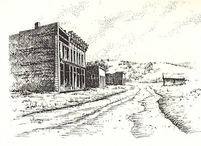 Ghost Towns Drawing - White Oaks Ghost Town New Mexico by Kevin Heaney