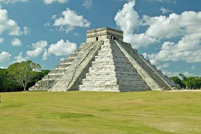 White Puffy Clouds Over The Mayan Pyramid Of Kukulkan (also Known As El Castillo) And Ruins At Chichen Itza, Yucatan Peninsula, Mexico Print by VisionsofAmerica/Joe Sohm