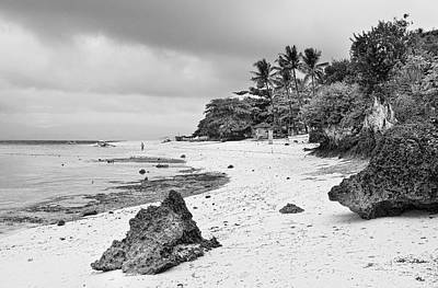 White Sand Beach Moal Boel Philippines Bw Print by James BO  Insogna