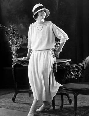 Three Quarter Sleeves Print featuring the photograph White Silk Knit Dress For Early Morning by Everett